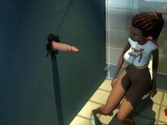 3d school girl bath room fun