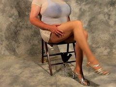 Crossdresser in White over her blue swimsuit