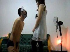 asian mistress slaps a slave really hard