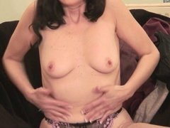 Classy retro MILF playing with herself