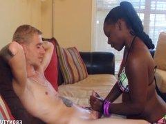 Ebony In Bikini Handjob