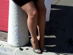 WALKING IN HIGH HEELS AND NYLONS