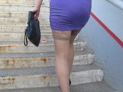 Upskirt stockings uptairs