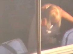 Vegas Blonde Topless Voyeur in Window