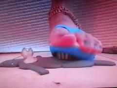 Zombie trampled under Gothic flip flops