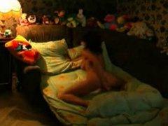 Hot teen masturbates in bed