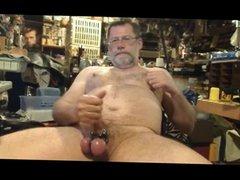 Daddy Bob wanking in Garage