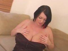 Simone licks her own nipples