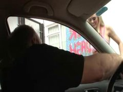 British blonde slut gets fucked at the carwash