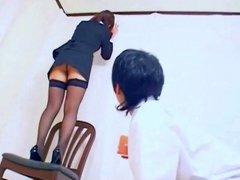 Japan office girl strap-on fucking boy