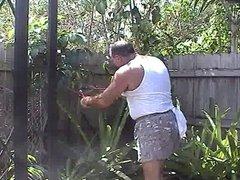 cumming in the yard