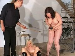 Two slaves mutual electro torture and whipping sadism