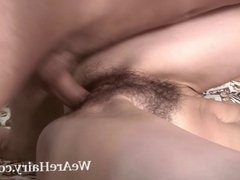 Hairy girl Milady takes her man on the bed