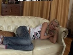 skinny blonde fuck hard in the mouth