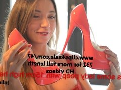 teasing & highheelslicking 2 new Louboutin red luxe lingerie