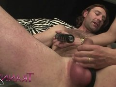 Tranny Art Rich chick with dick fucking her man slave