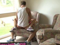 Girls Out West - Skinny amateur chick fucked in the armchair