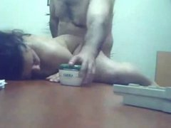 Sexy lady fucked by her boss on a table