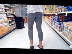 Tight Ass in skin tight grey leggings