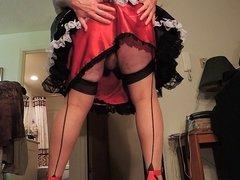 Sissy Ray in Black Vinyl Maids Uniform