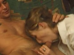 FRENCH MATURE n46 blonde anal mom on a sofa