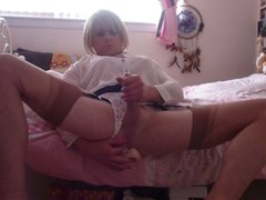 Tgirl holly cums again with a dildo