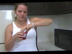 chubby girl  is sucking her nice sweet nipples