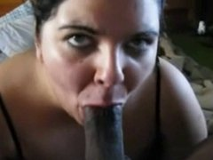 Fat woman sucking big black cock and gets cum in mouth