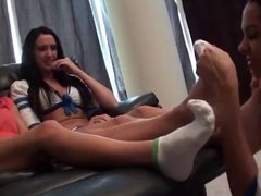 Nikki Danica and Lea sniffing on her socks