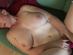 Hairy big breasted housewife getting wet