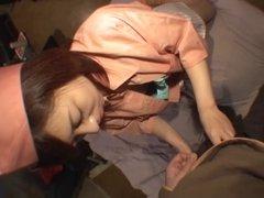 Japanese hotel maid masturbated and fucked