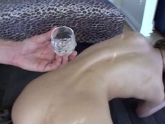 Aurora Snow's drinks her anal creampie from a shot glass