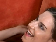One-man Bukkake On a beautiful milf's face