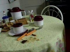 Foot worship breakfast