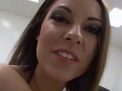 Takes on three cocks with her mouth - face fuck