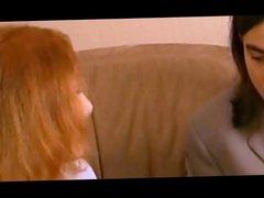 Redhead girl strapon