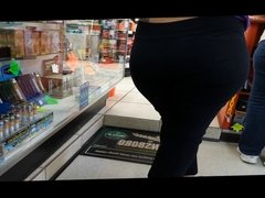 candid booty at gas station