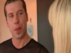 hot blonde nails him with a strapon