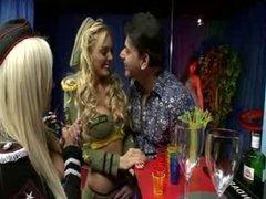 British blonde slut in a FFM threesome in yellow fishnets