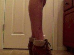 Sissy boy rides in heels