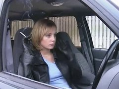 Smoking Girl in Leather Jacket and Gloves 1