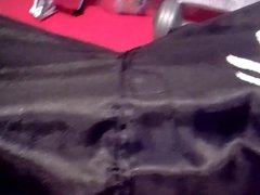 Sagging in black dragon boxers silky shiny