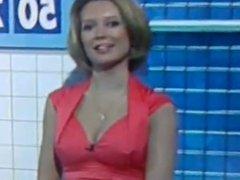 Rachel Riley nipples, cleavage + ass