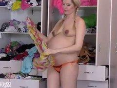 Pigtail Pregnant Anny Wardrobe Fun - MyPreggo