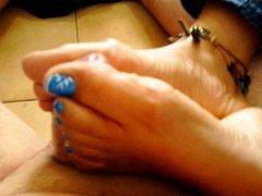 Footjob Blue Toenails 1