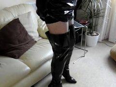 PVC and Crotch Boots wank