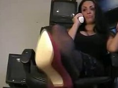 lexi lapetina foot fetish showing her smelly feet at work