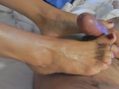 footjob and cum
