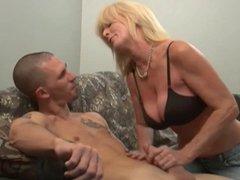 Mature blonde handjob