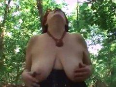 chubby mature fucks outside